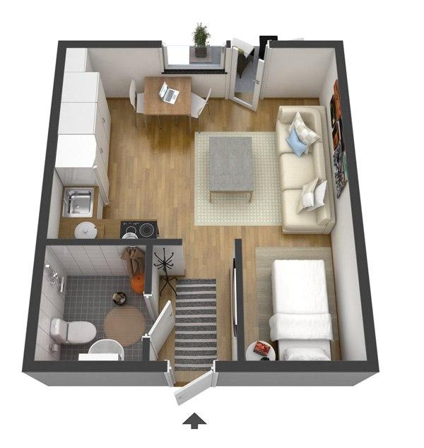 Интерьер квартиры-студии почти 25 м.