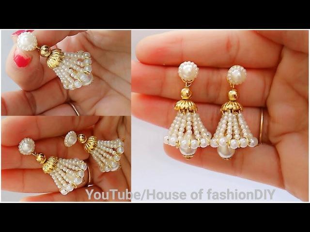 How To Make Beaded Earrings||Beaded Jumkies||Head pin earrings