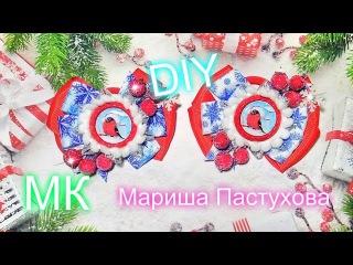 DIY Модные бантики с новогодним декором\ канзаши \Мариша Пастухова \bow \ fazer um arco de