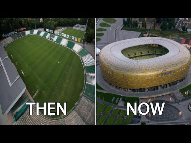 Стадионы клубов Польши раньше и сейчас