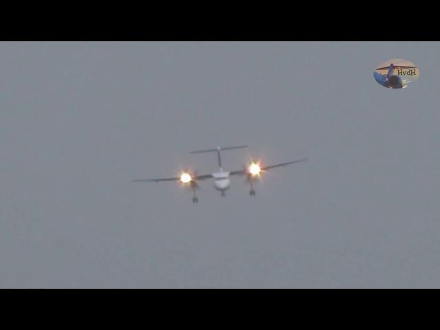 видео посадки самолета в Дюссельдорфе во время урагана