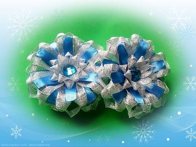 Пышные бантики снежинки из новых лепестков из узкой ленты christmas snowflake
