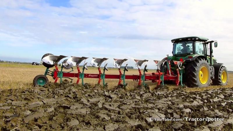 John Deere 7260R 7 furrow LO 100 on-land ploughing - ploegen - Thes Agro