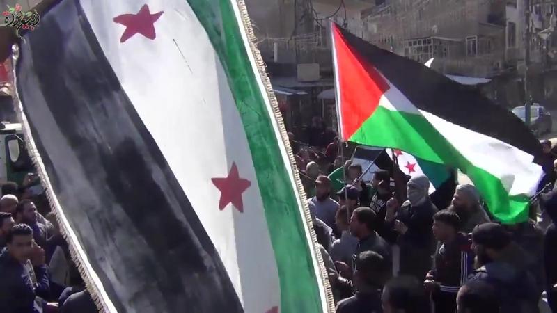 Демонстрация в Южном Дамаске (район Бейт Сахм) в знак солидарности с народом осаждённой Гуты Восточной