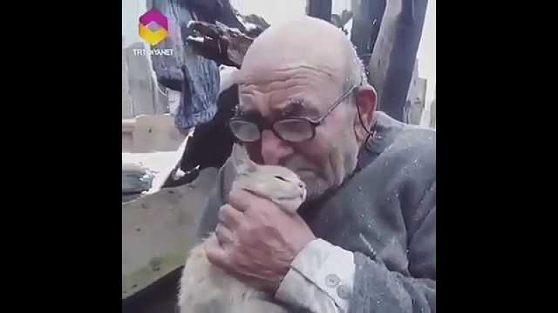 83 yo man clings to his beloved cat who was saved from a fire that destroyed their home