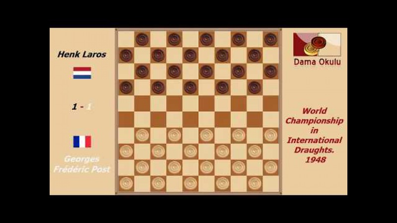 Georges Frédéric Post - Henk Laros. World Championship in International Draughts- 1948.