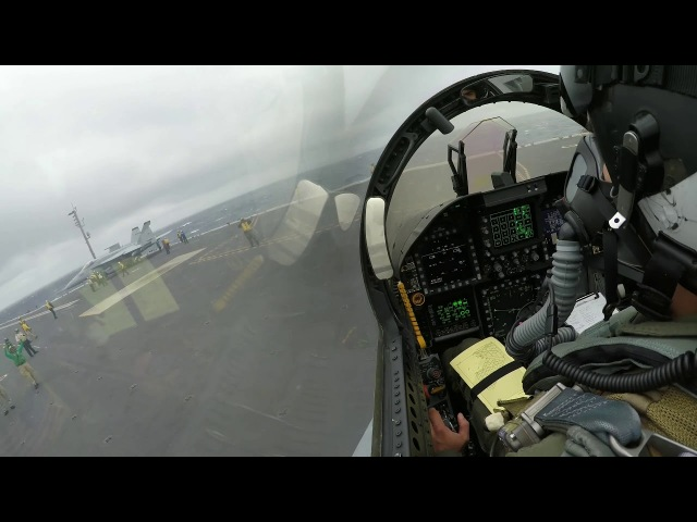 F-18 carrier landing in bad weather and low visibility
