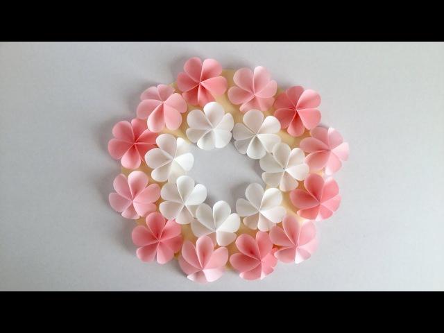 折り紙・コピー用紙 簡単!かわいい花 ハッピーカラーのリース Easy Cute flo