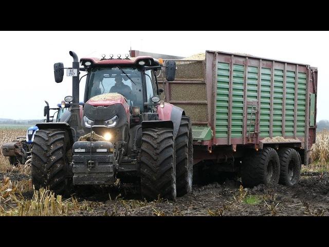 Case IH 300 Optum, Fendt 933 Vario John Deere 8370R Working Hard in The Mud | Häckseln 2017