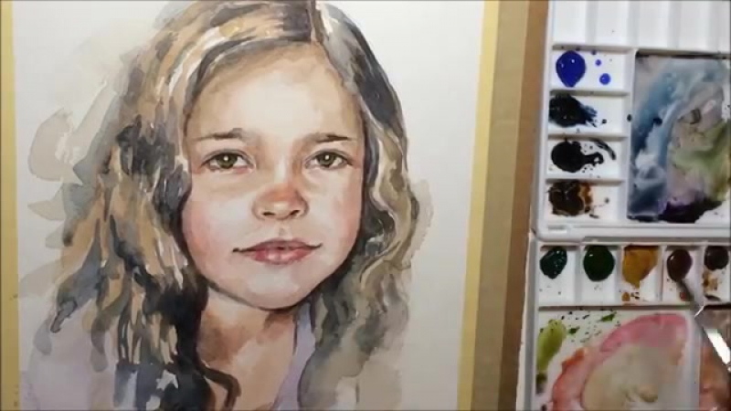 Quick Watercolor Portrait Painting Demo by Ch.Karron