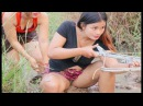 Primitive Technology Beautiful Two Girl Fishing Amazing fishing in My Country 51