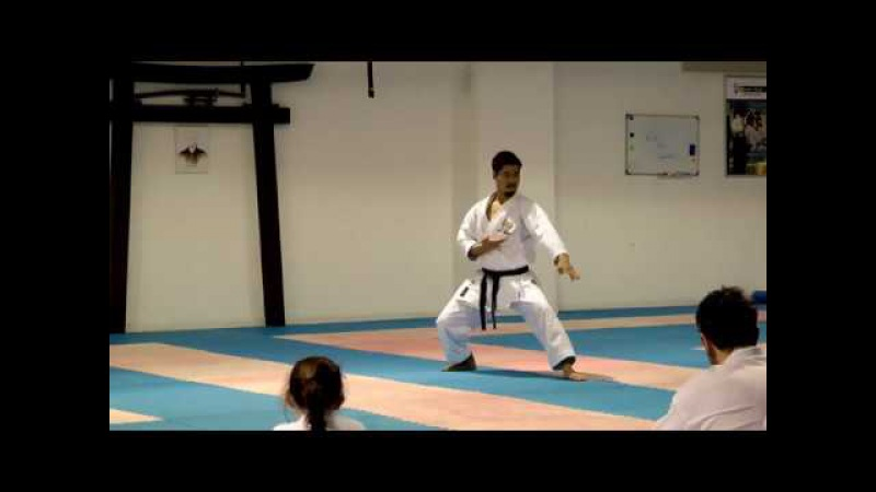 WORLD KATA CHAMPION: Koji Arimoto performing GANKAKU