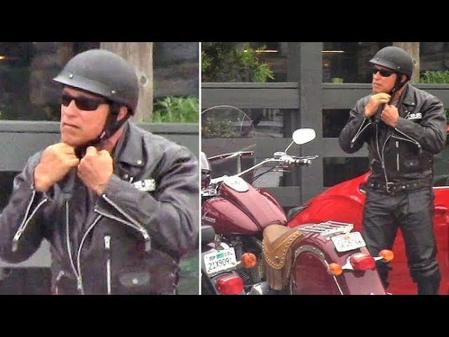 Arnold Schwarzenegger Sports Leather Terminator Jacket For A Ride On His 2009 Indian Motorcycle
