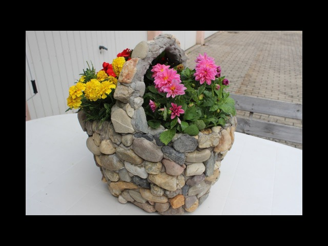 DIY Aus einem alten und kaputten Einkaufskorb,wird eine wunderschöne Deko für Balkon/potted/saksı