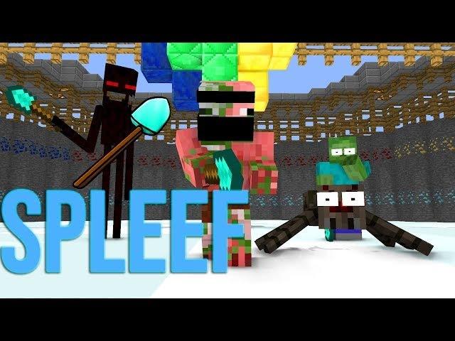 Monster School : SPLEEF CHALLENGE - Minecraft Animations