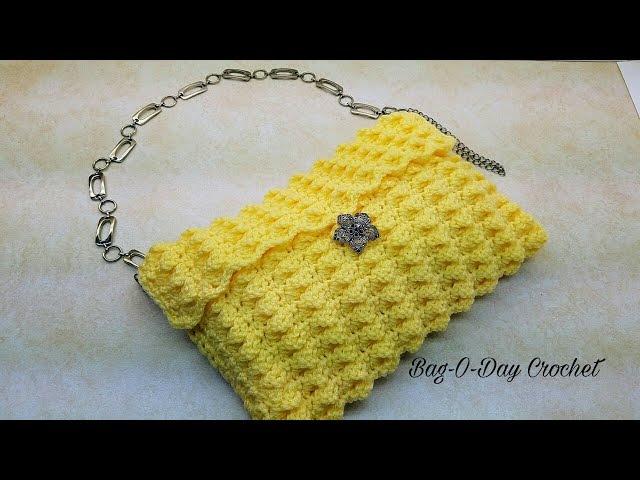 Learn How To Crochet Lemon Drop Handbag Purse TUTORIAL 370 supersaver