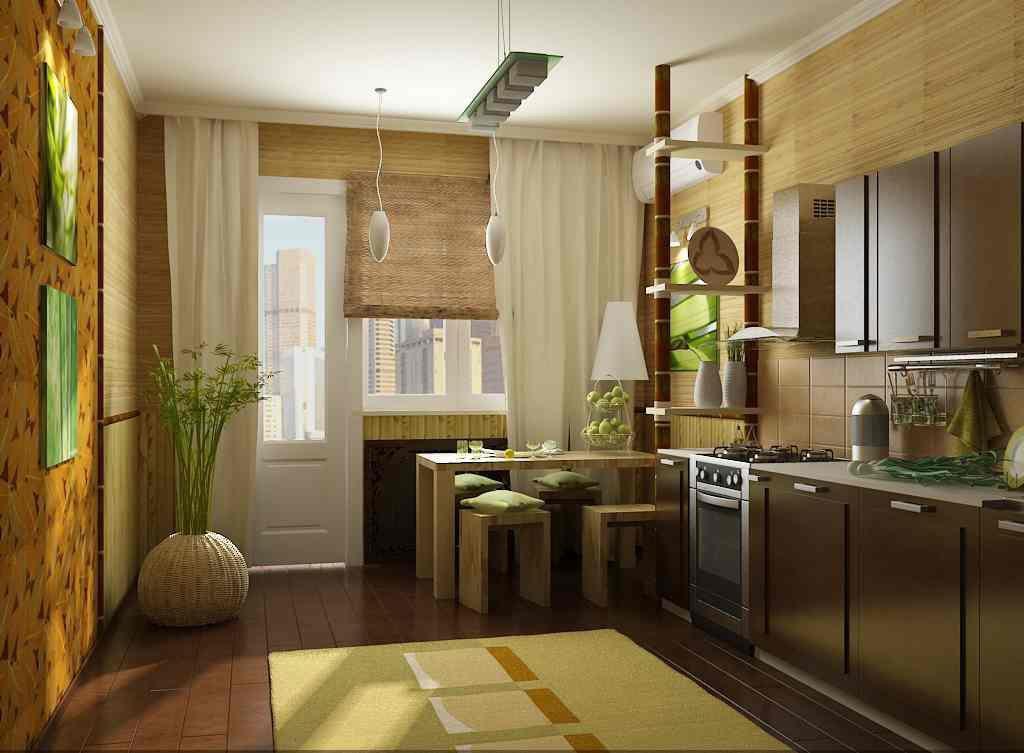 Интерьер кухни с бамбуком