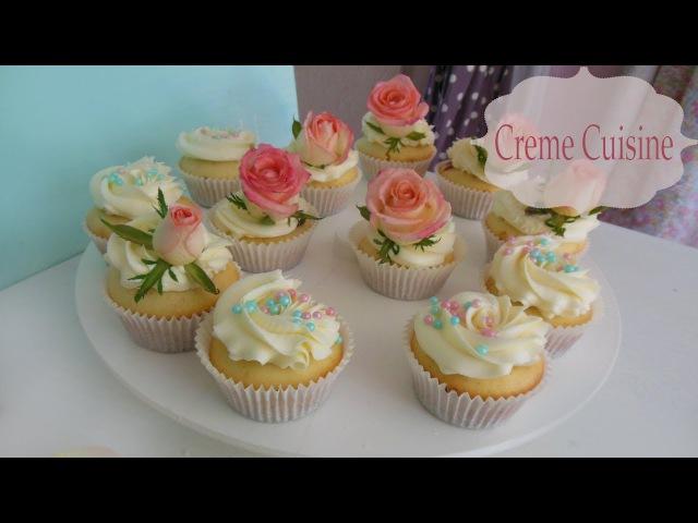 Cupcake with frosting recipe / Как сделать капкейки: видео-рецепт с украшением кремом меренга