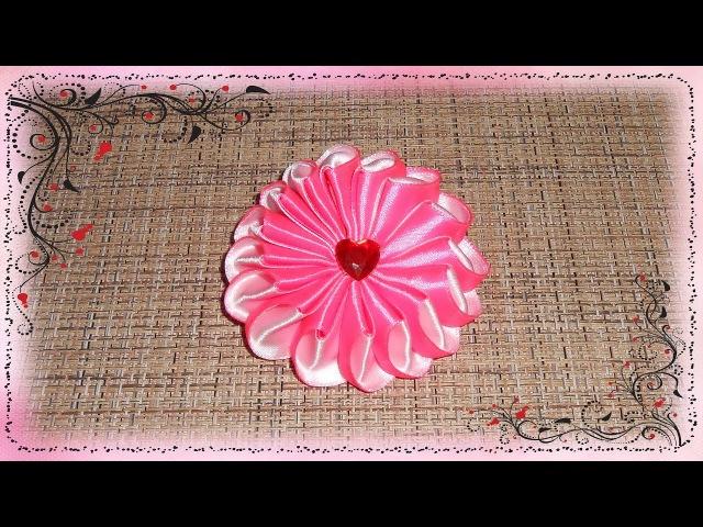 Канзаши зефирка на резинку, из ленты 2.5 см. МК/Kanzashi marshmallow elastic band, tape 2.5 cm. DIY