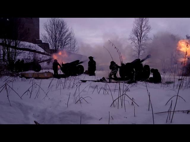 Ивангород, салют в честь 100 лет со дня образования красной армии