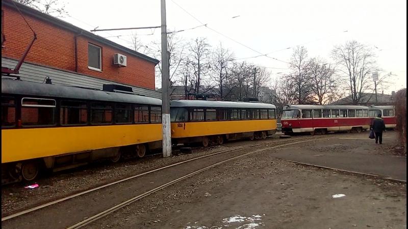 Tatra T4D-MT №1457Tatra TB4D №1458, Tatra T3SU №13051306 ул.Рабочая г.Днепропетровск