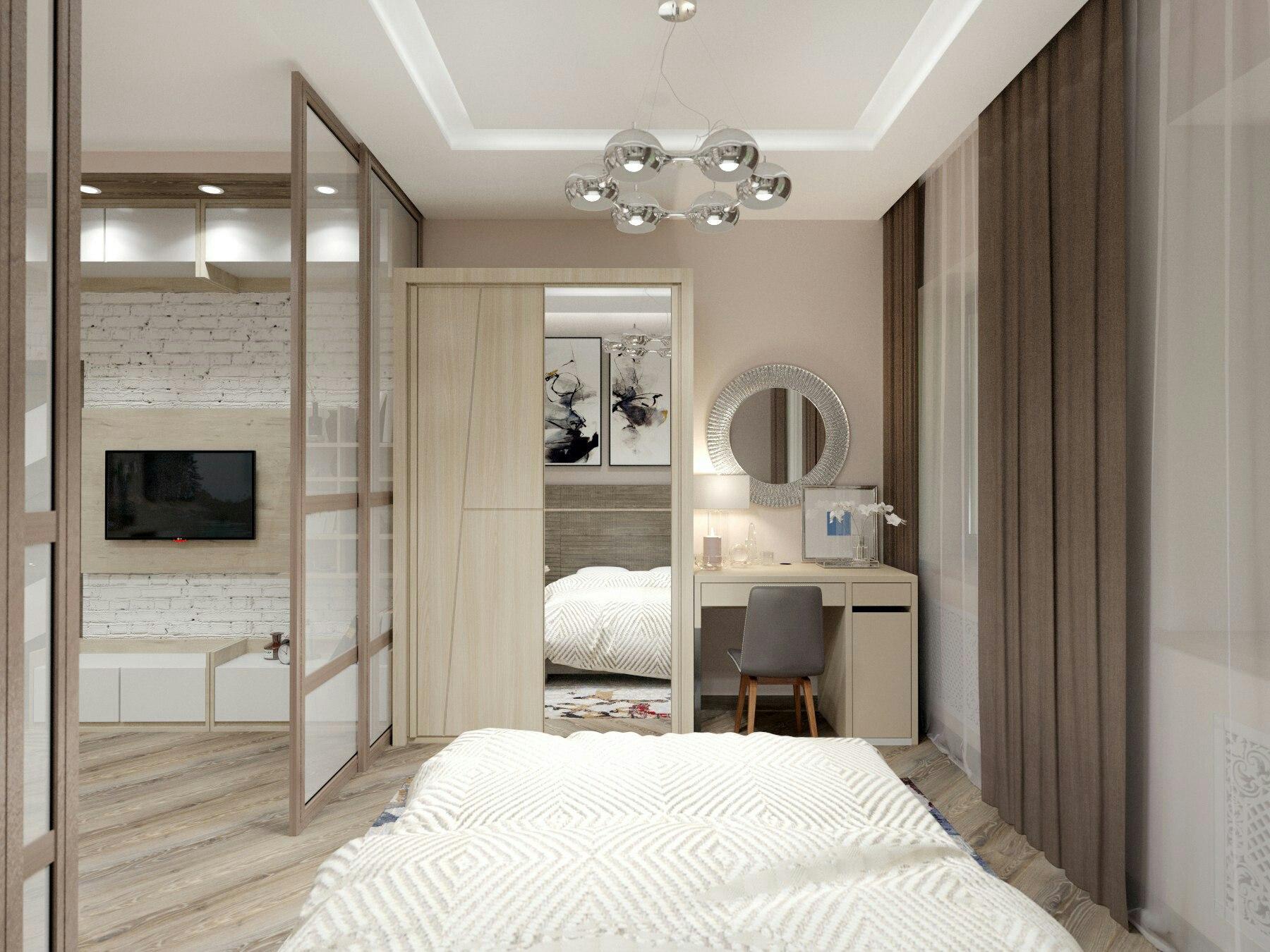 Зонирование и дизайн интерьера жилой комнаты (гостиной-спальни) в однокомнатной квартире.