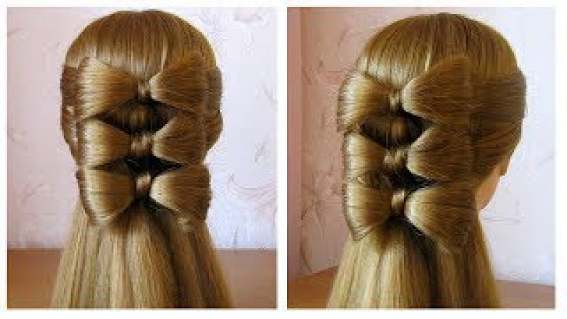 Coiffure avec noeud papillon, cheveux long 🎀 Hair bow tutorial 🎀 Hairstyle for long hair