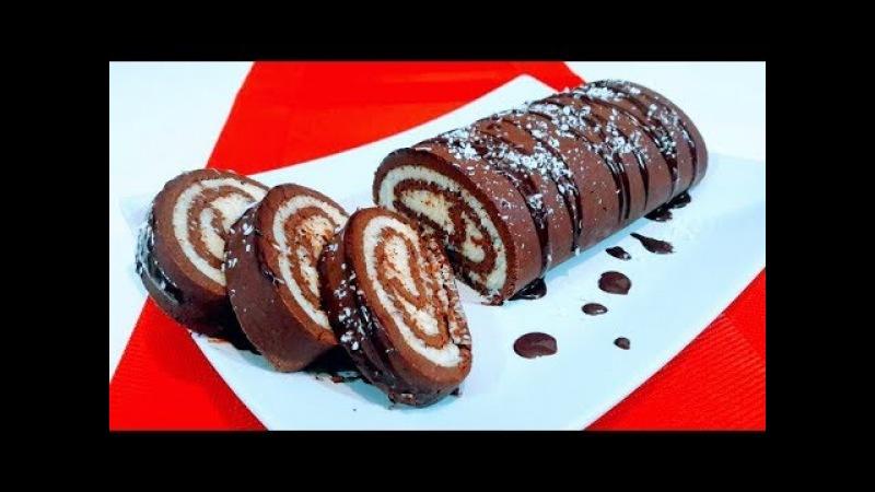 Торт Рулет Баунти без выпечки за 30 минут! Cake Bounty without baking!