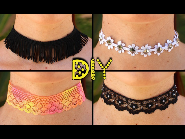 DIY 4 EASY Choker Necklaces - Fringe, Studded, Tie-Dye, Pearl || Lucykiins