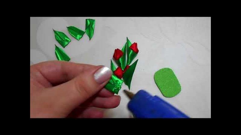 Как сделать тюльпан из лент своими руками на брошь или магнит/DIY tulip