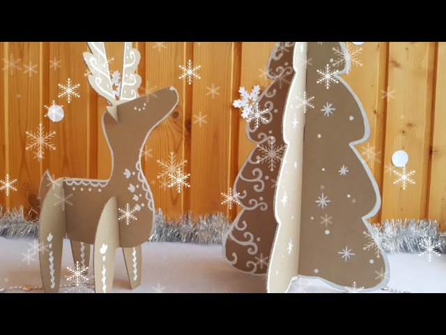 Christmas Tree and Deer with cardboard. Christmas recycled crafts