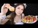 АСМР 🎎 КАФЕ С ГОРНИЧНОЙ Итинг поедание роллов 🍣 ASMR maid cafe ASMR eating rolls