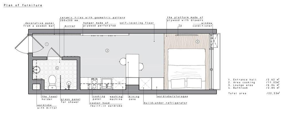 Проект маленькой студии 22,5 м.