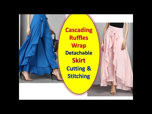 DIY Easy Making of Cascading Ruffles Wrap detachable Skirt   Cutting and Stitching   Part - 1