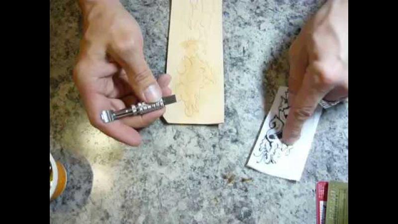 4. Карвинг. Картхолдер (Making leather cardholder). Прорезаем рисунок на коже поворотным ножом