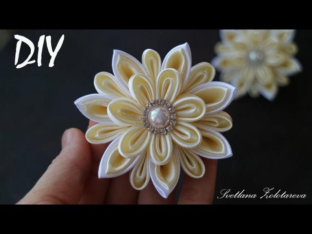 Цветы из атласной ленты Канзаши Резинки для волос DIY Hair Flowers Kanzashi
