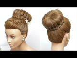 Easy Lace Braid Bun. Braided Updo Hairstyle For Long Hair