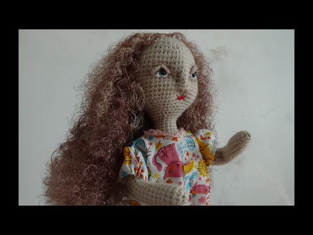 Волнистые волосы для куклы из атласных лент. (Wavy hair for dolls of satin ribbons. )