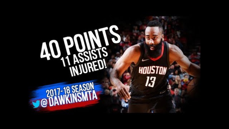 James Harden Full Highlights 2017 12 31 vs Lakers 40 Pts 11 Asts Left Game INJURED