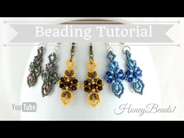 Cross and Sword Earrings Beading Tutorial by HoneyBeads1 (Easy earrings with superduo beads)