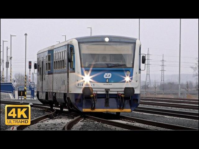 Vlaky Dobrovice 17.2.2018 (4K)