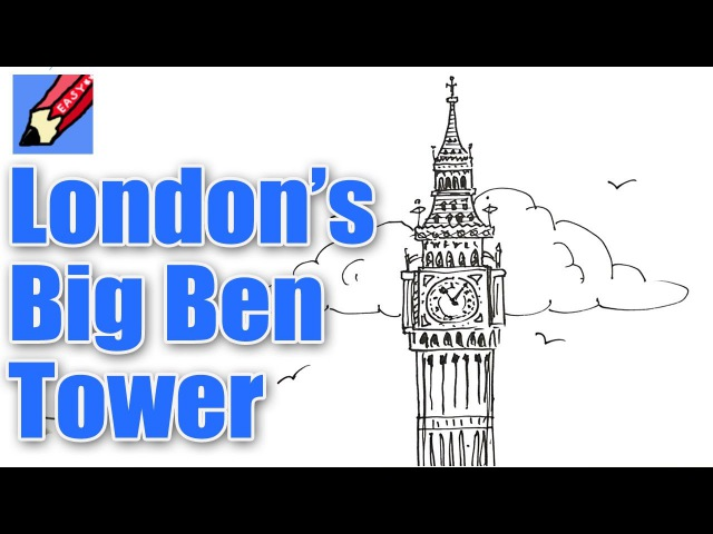 How to draw London's Big Ben Elizabeth Tower Real Easy for kids and beginners