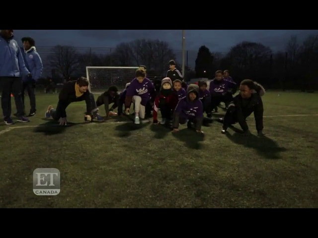 Benedict Cumberbatch shows off his soccer skills with local kids in Laureus Sport's youth program