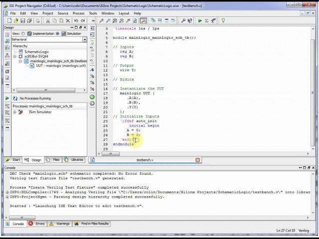 Xilinx ISE Simulator (ISim) - Simple Schematic-Entry Logic Example