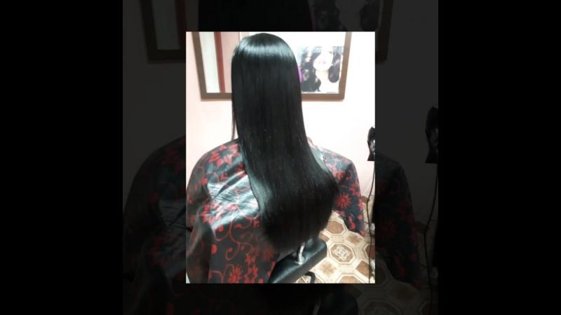 Студия Карамель. Кератиновое выпрямление волос. Состав смыт, волосы высушены без расчески.
