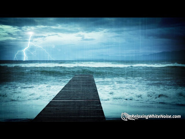 Rain Thunder with Ocean Waves Sounds | White Noise for Relaxation, Sleep or Studying | 10 Hours