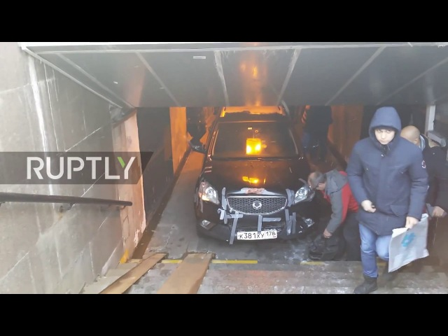 Russian pensioner takes car off road…and into subway