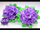 DIY. kanzashi tutorial. DIY. Scrunchy Kanzashi. Flowers from ribbon