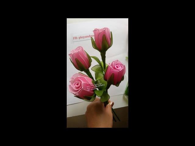 ดอกกุหลาบผ้าใยบัว how to make nylon flower (rose) by FB: ployandpoom(ผ้าใยบัว)