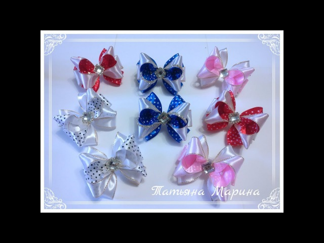 МК Мини-бантики в горох 9 см/Arcos de mini-arco em ervilhas/Mini-bow bows in peas